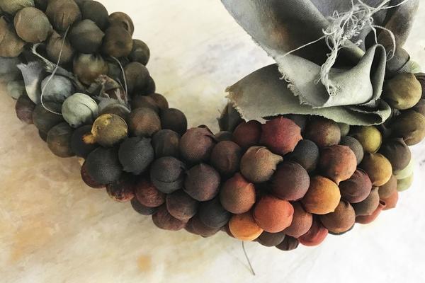 Artwork tied with pie weights, Deborah Weir