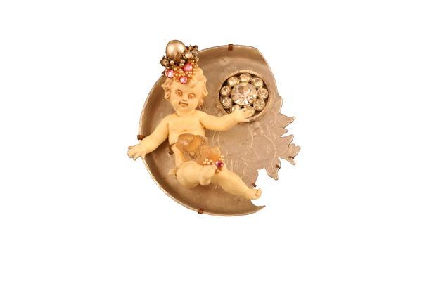 Brooch, mixed media, aluminium, pearls, stones, copper, ivory doll cutout