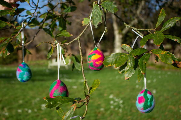 Easter activities include Yarn wrapped egg decoration made from recycled materials