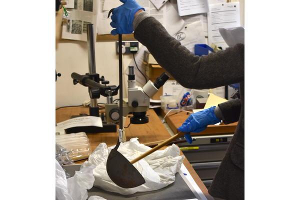 Mary Hampton testing the acoustics of the Batterie de Cuisine