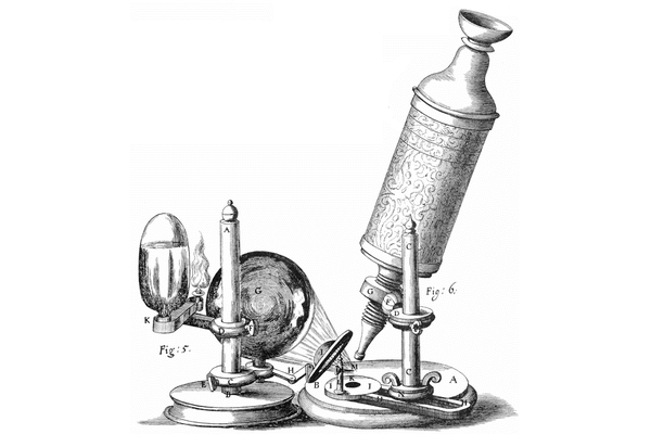 Figure 3.1: Drawing of Hooke's microscope set-up