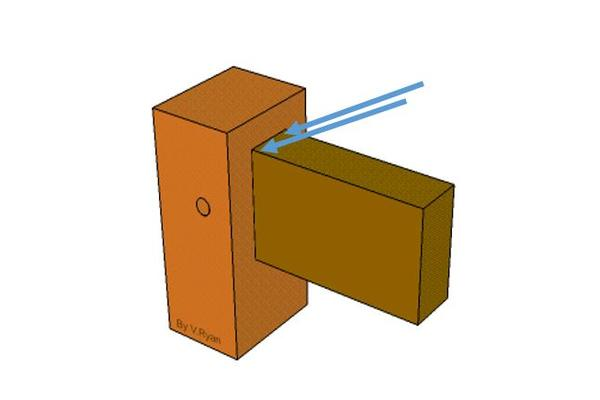 Fig 4. Diagram showing direction of drill holes for glue either side of the tenon