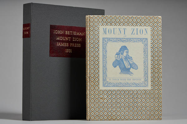 Proof copy of John Betjeman's Mount Zion, published by Edward James's James Press (1931) with box made by West Dean students