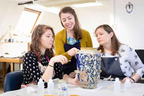 Conservation students specialising in Ceramics and Related Materials in the workshops at West Dean College of Arts and Conservation. © Chris Ison
