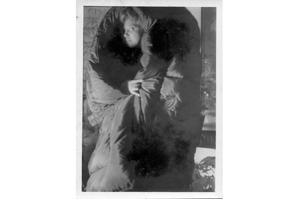 Leonor Fini in eiderdown, New York, late 1930s. Image courtesy of West Dean College of Arts and Conservation.
