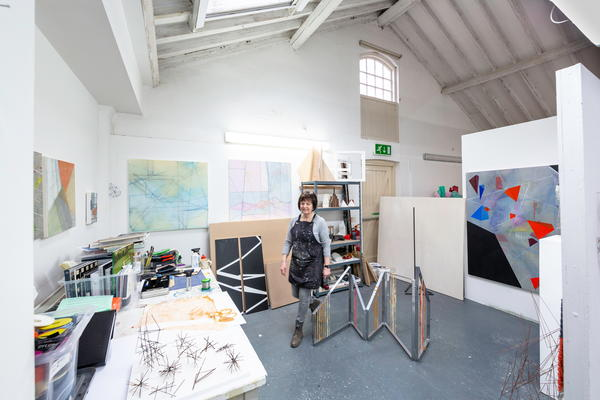 MFA student Ruth Heaton in the Edward James Studios at West Dean College of Arts and Conservation. © Chris Ison