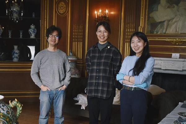 MA Conservation Studies students, from left to right, Rick Li, Rose Zhou, and Sujin Jung, in the Old Library at West Dean College