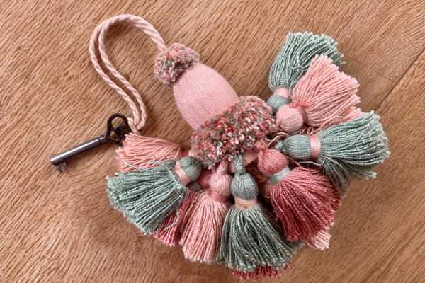 Cabinet key tassel by Clare Hedges