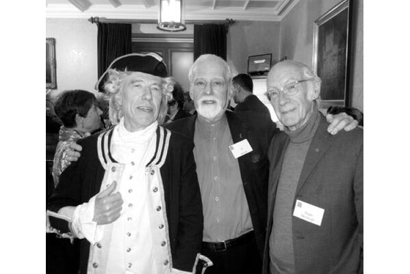 Garry Brooking as Captain Cook (left), alongside Ed Berman (centre) and Roger McGough (right)