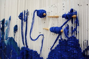 Blue tapestry in the West Dean Tapestry Studio
