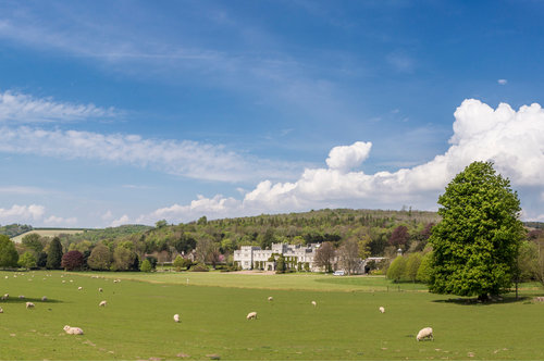 View of the front of West Dean College of Arts and Conservation with sheep in the field in front