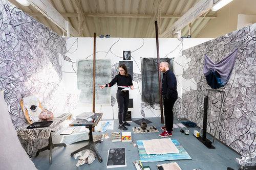 Agata Bogacka and George Charman in the art studio at West Dean College