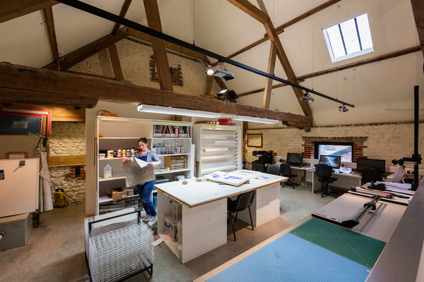 Large art studios for MFA students at West Dean College of Arts and Conservation