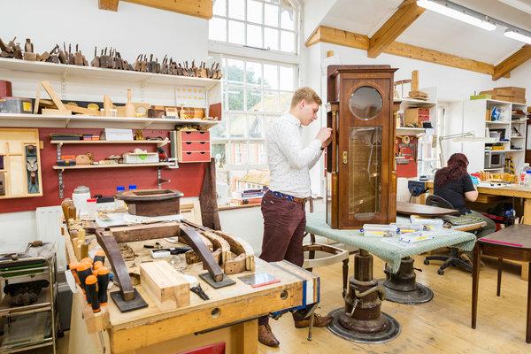 Conservation of Furniture student Anton van der Poel in the workshop at West Dean College