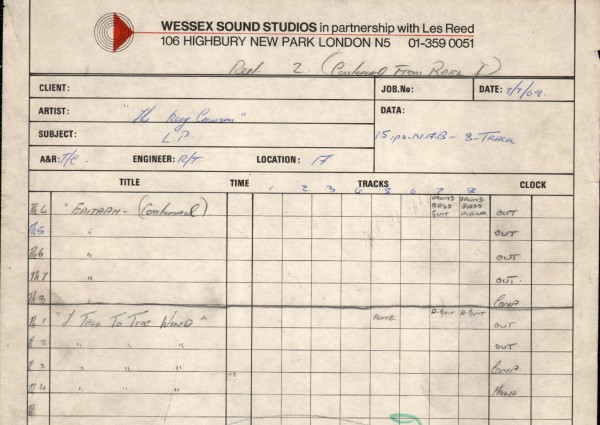 Wessex Studios Epitaph Takes 1 to 3 and 4 to 8