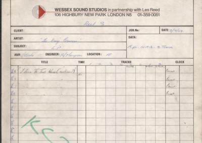 Wessex Studios I Talk to the Wind takes 1 to 12