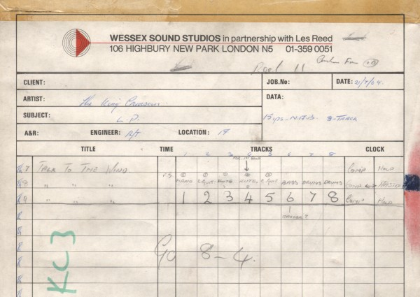 Wessex Studios I Talk to the Wind takes 3 to 9