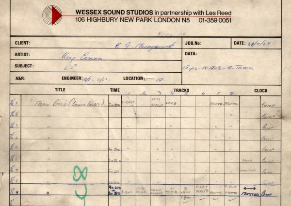 Wessex Studios Moonchild Takes 1 to 9